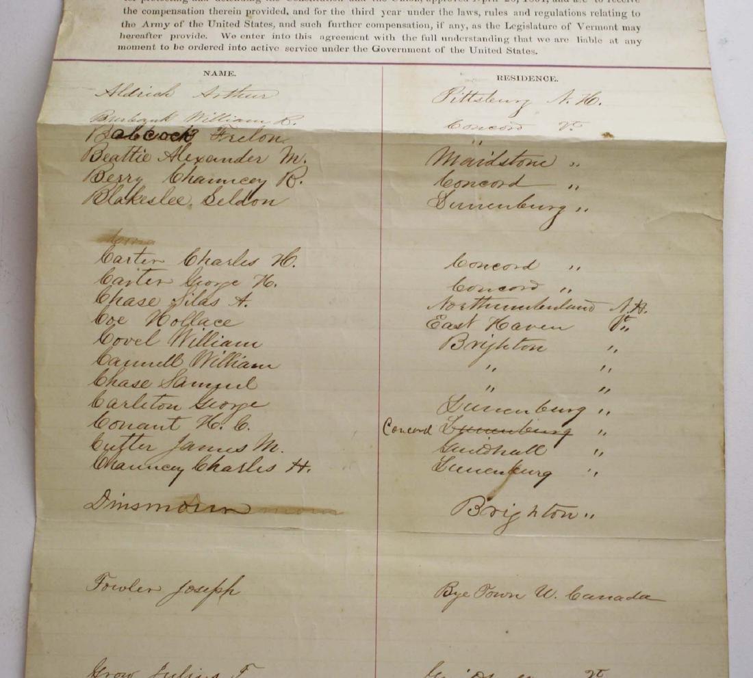ca 1861 VT Civil War Enlistment Roster - 4