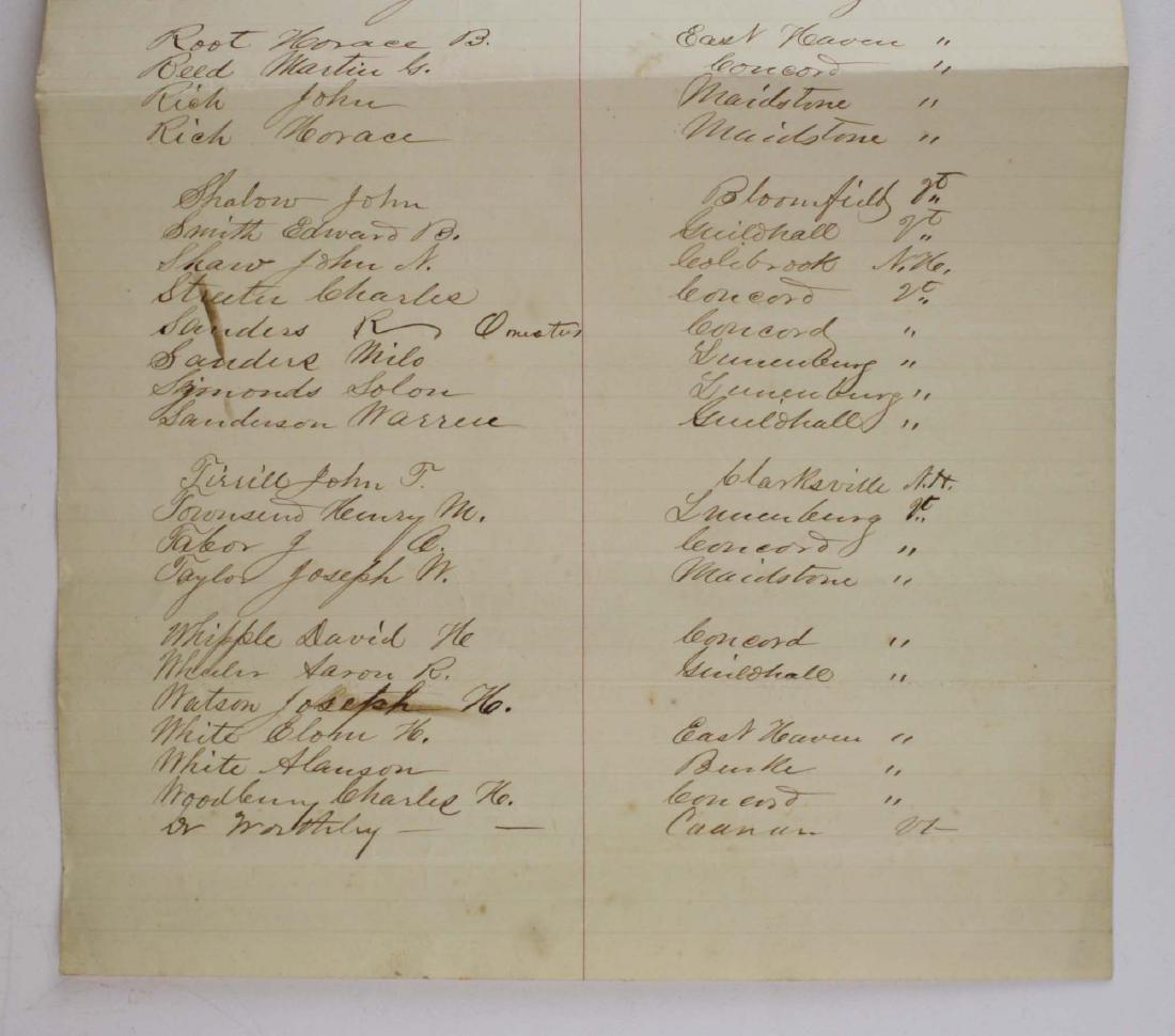 ca 1861 VT Civil War Enlistment Roster - 6