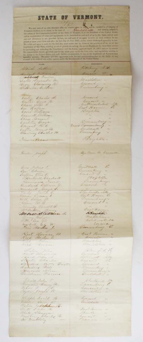 ca 1861 VT Civil War Enlistment Roster - 7