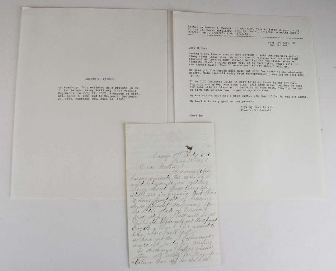 10 VT Civil War soldier's letters - 2