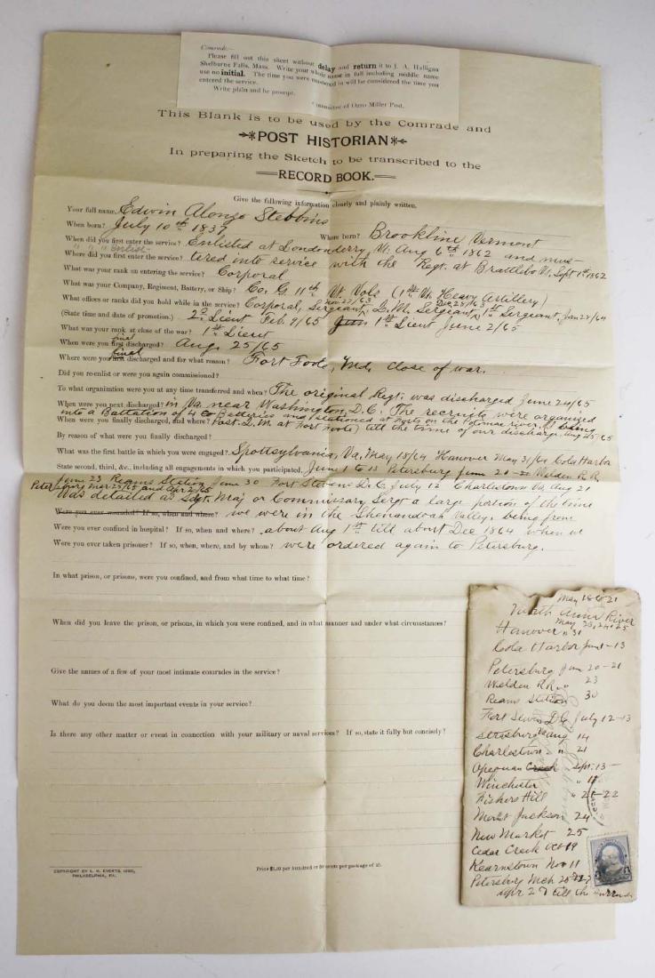 4 VT post Civil War GAR Post records - 2