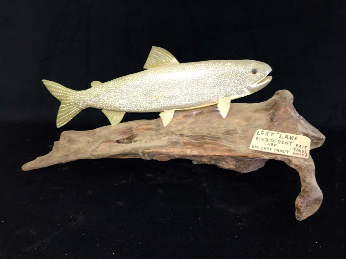 Lake trout carving by Rupert King Jr.
