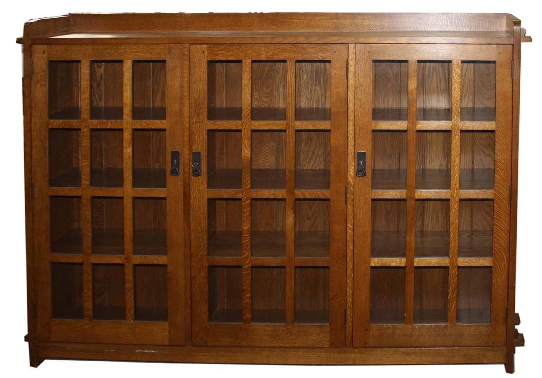 Stickley Fayetteville 3 door oak bookcase