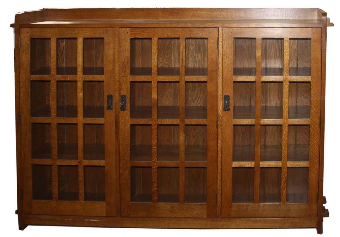 Stickley Fayetteville 3 door oak bookcase