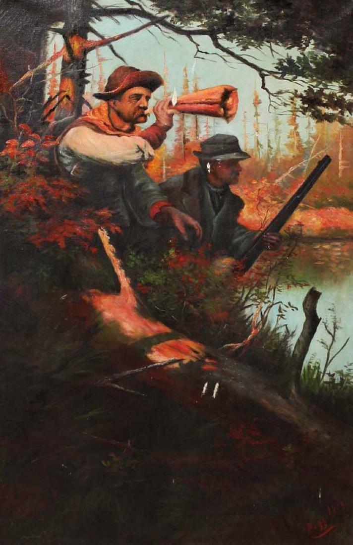 1913 Moose Hunting o/c signed Fogg