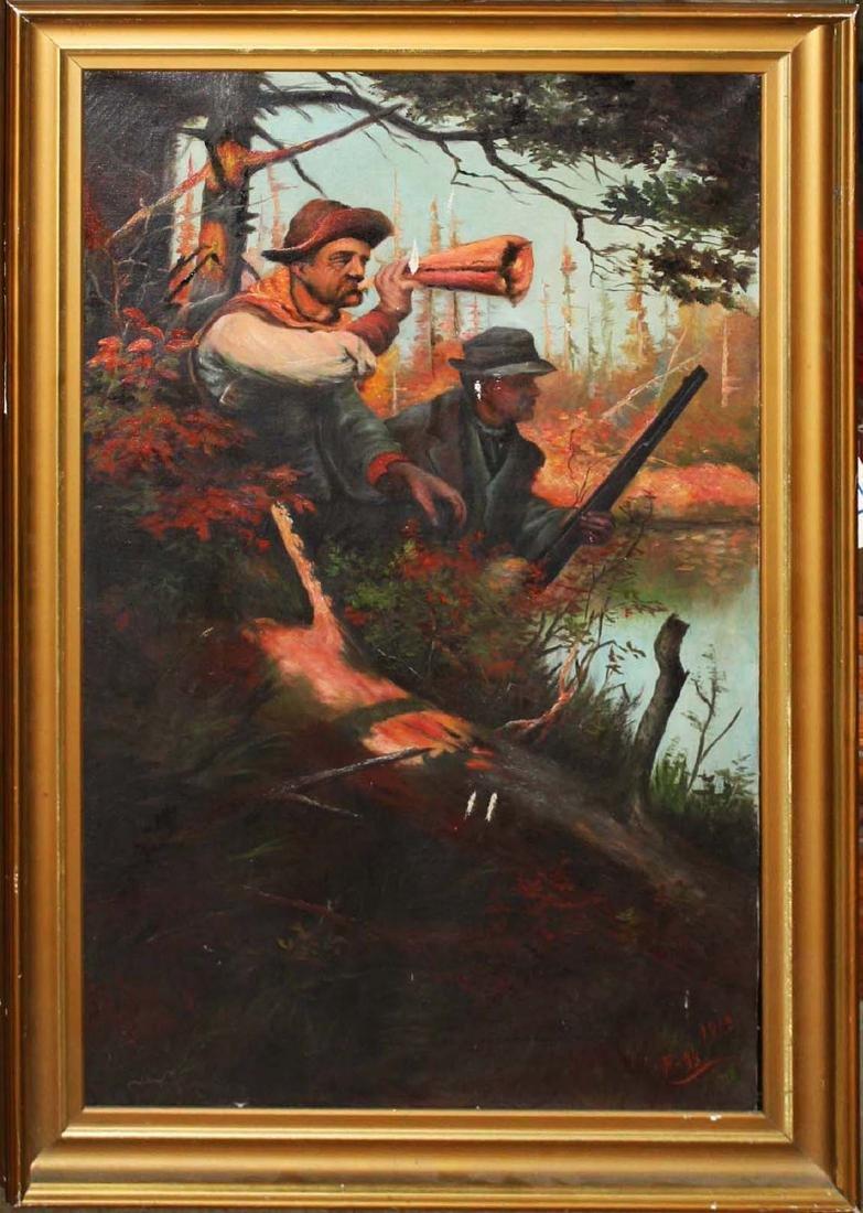 1913 Moose Hunting o/c signed Fogg - 2