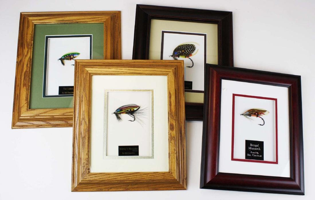 4 individually framed flies by B Chandler