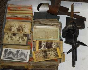 Approx 350 Stereoview cards with four viewers