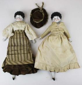 pr of ca 1860 low brow china head dolls