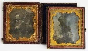 two daguerreotype sixth plate images of fiddlers