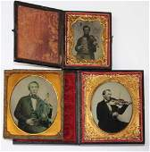 three Ambrotypes of fiddlers