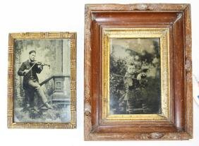 Two full plate tintypes of Fiddlers