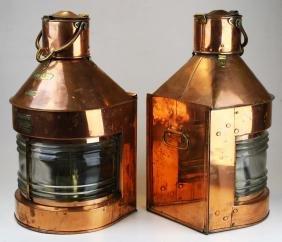 Pair of 19th c copper Masthead ship lanterns