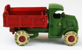 1930's Hubley cast iron dump truck w/ driver