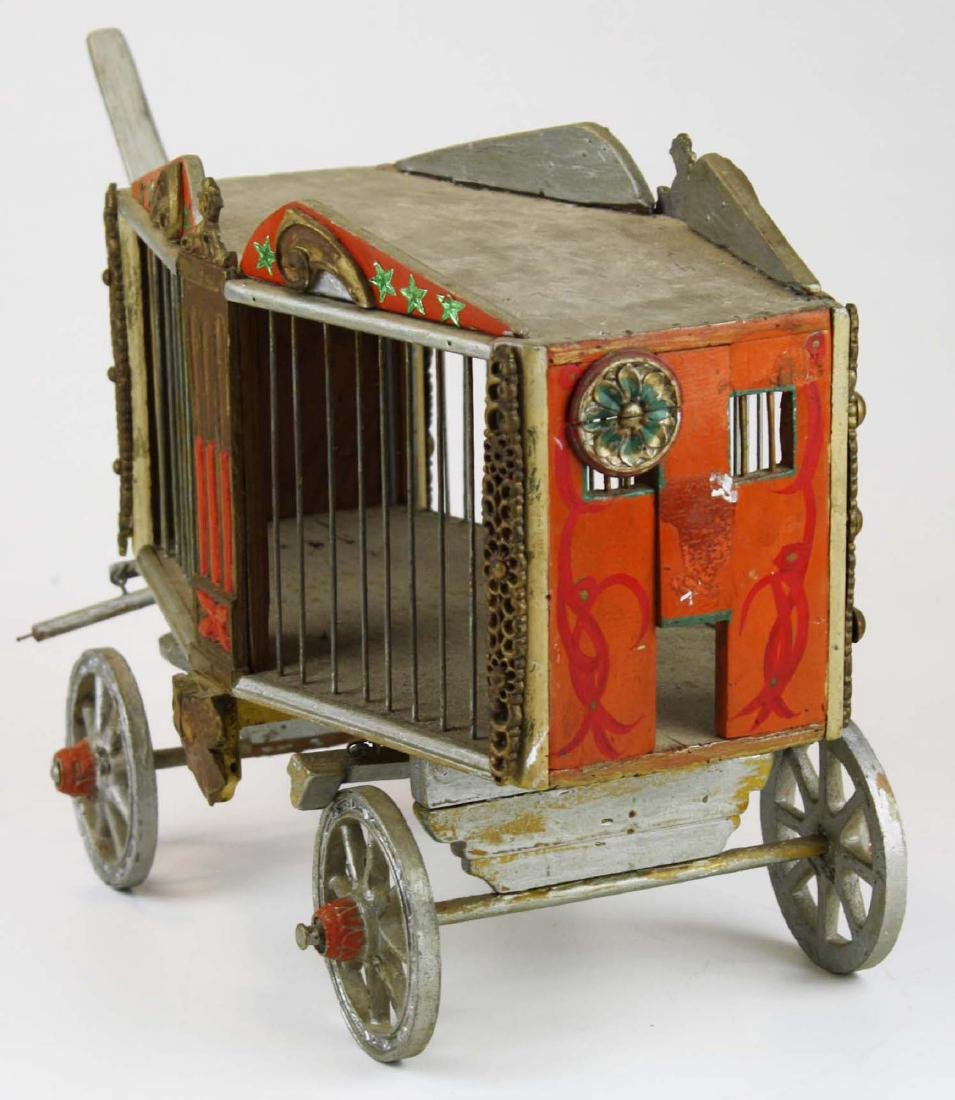 early 20th c folk art toy overland circus wagon