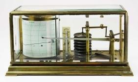 R.F. Paris brass and beveled glass Barograph