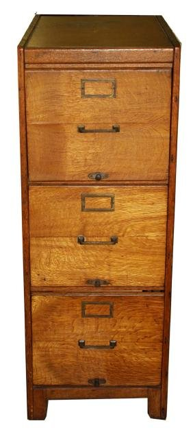 Oak three drawer file cabinet