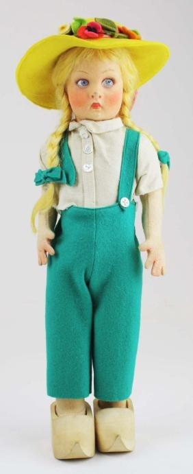 Lenci Dutch girl cloth doll w/ wooden shoes