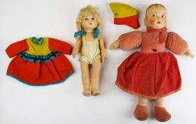 2 Norah Wellings cloth dolls