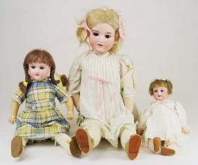 3 German Armand Marseille bisque dolls