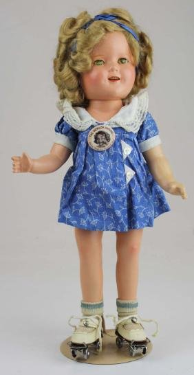 """15"""" Ideal Shirley Temple doll & roller skates"""