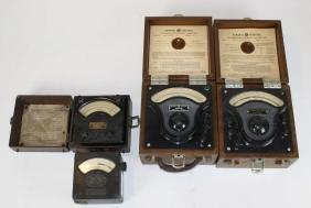 4 vintage steam punk electric meters