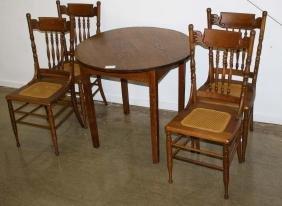 Oak ice cream parlor table