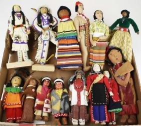 14 mid 20th c Native American dolls