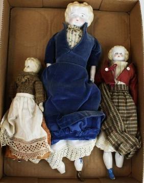 3 mid 19th c china head & Parian dolls