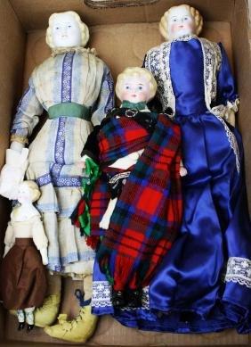 3 mid 19th c Parian head dolls