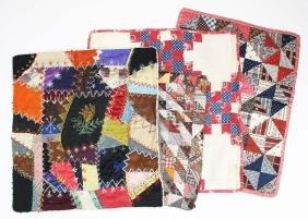 4 late 19th c doll quilts including chintzed back