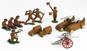 12 Barclay & Manoil soldiers & trucks