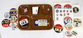 Collection of IKE pins, tray etc.