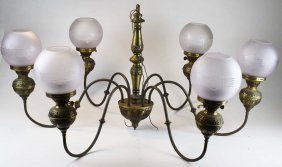 Pair of Victorian style 6 light chandeliers