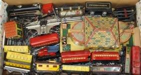 Marx tin litho train set, station, & accessories