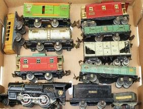 "Lionel ""O"" gauge locomotive, train cars"