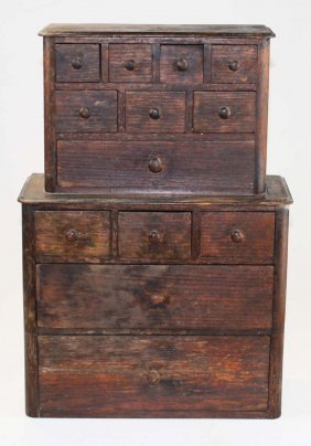 13 drawer oak spice or apothecary cabinet
