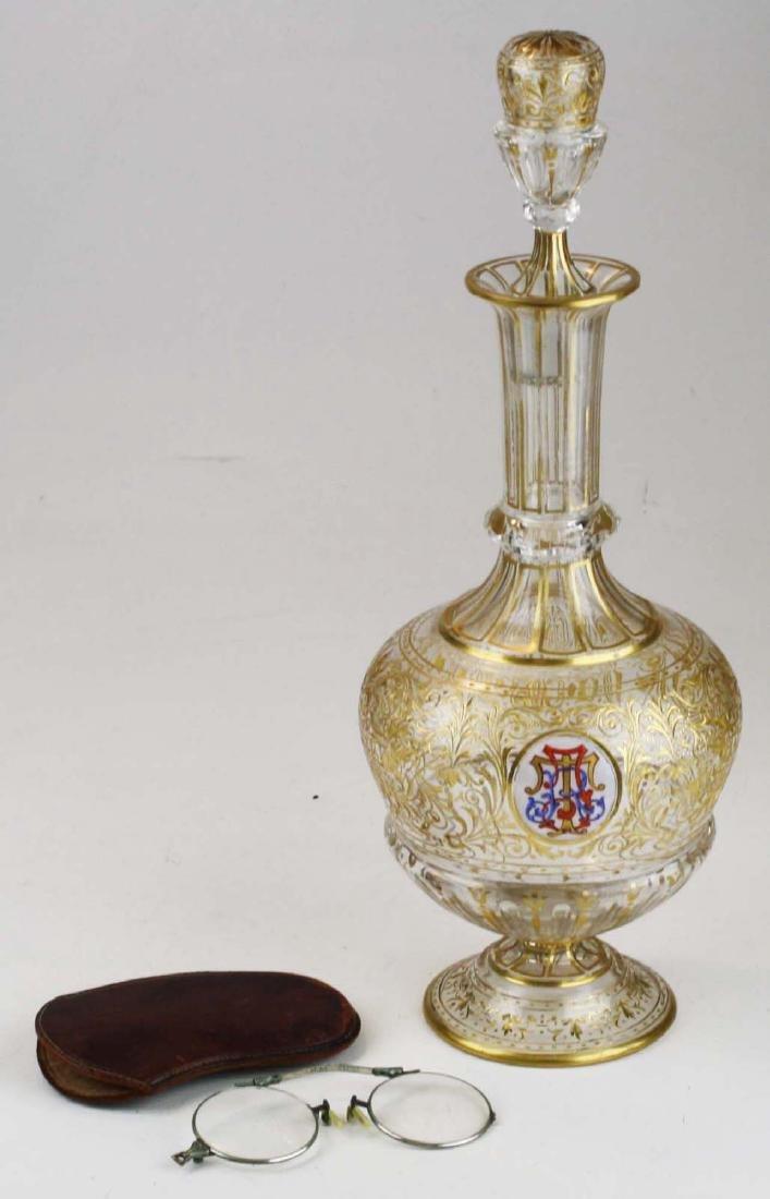 Bohemian gilt intaglio glass decanter