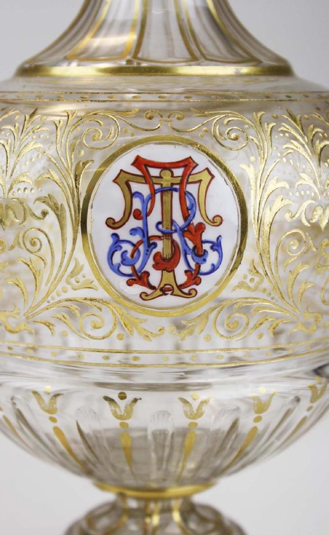 Bohemian gilt intaglio glass decanter - 2