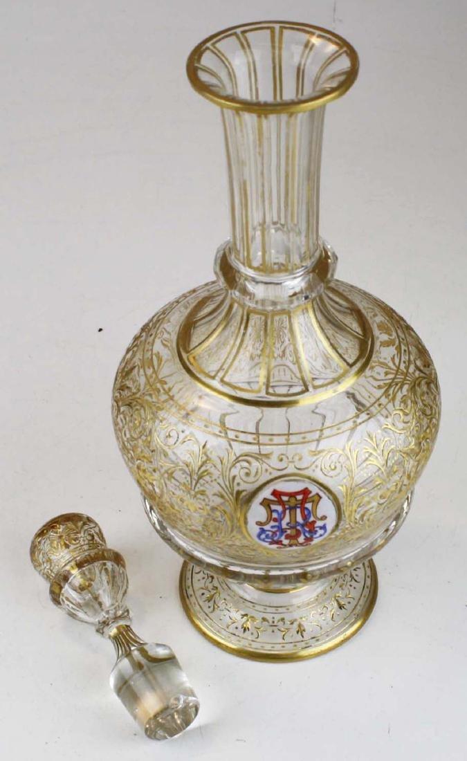 Bohemian gilt intaglio glass decanter - 3