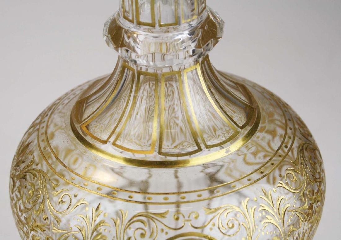 Bohemian gilt intaglio glass decanter - 7