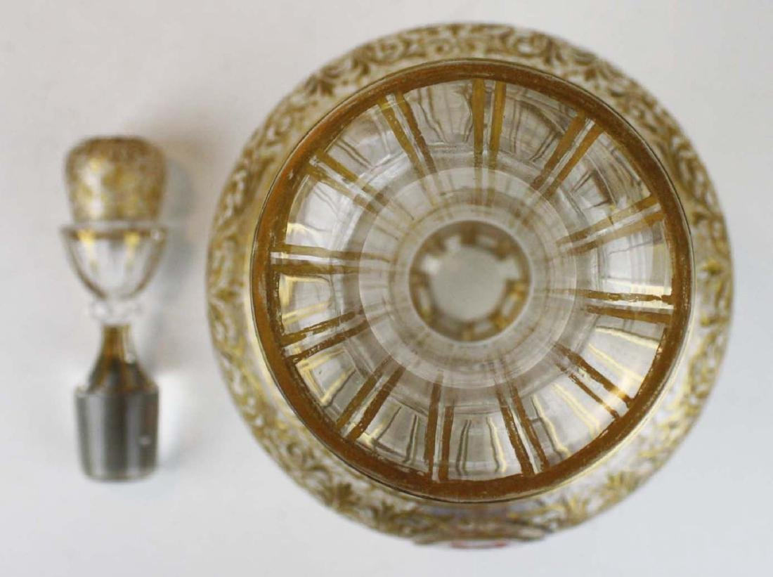Bohemian gilt intaglio glass decanter - 8