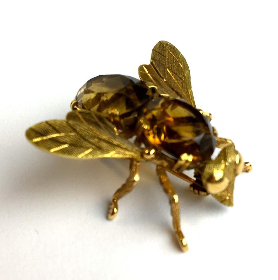 18k yellow gold & citrine bug brooch