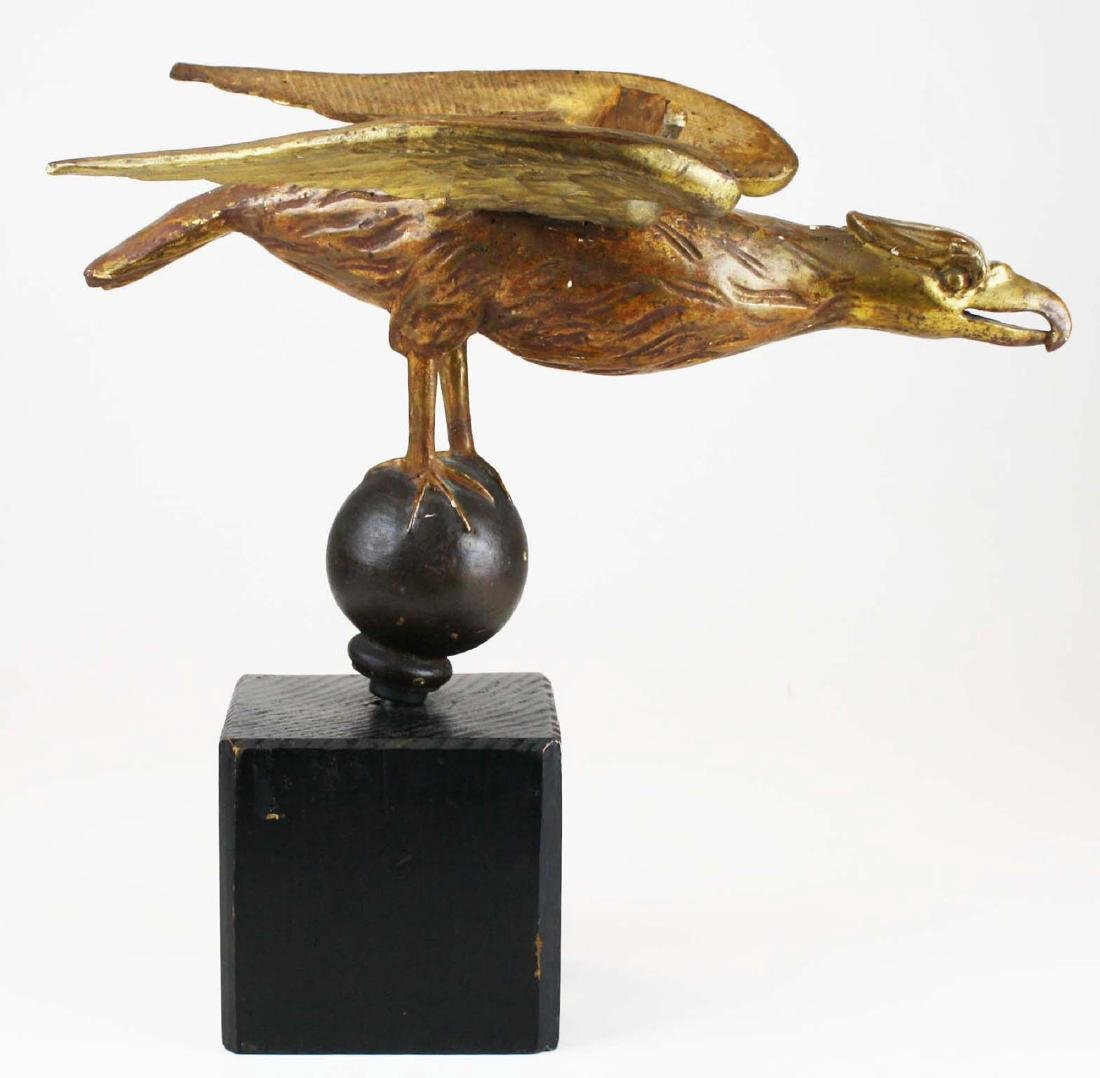 19th c carved gilt wooden eagle on ball