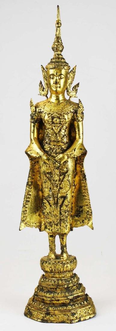 Gilt bronze female deity buddha.