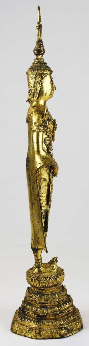 Gilt bronze female deity buddha. - 2