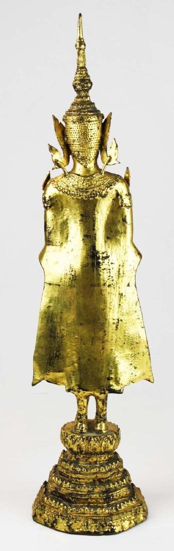 Gilt bronze female deity buddha. - 3