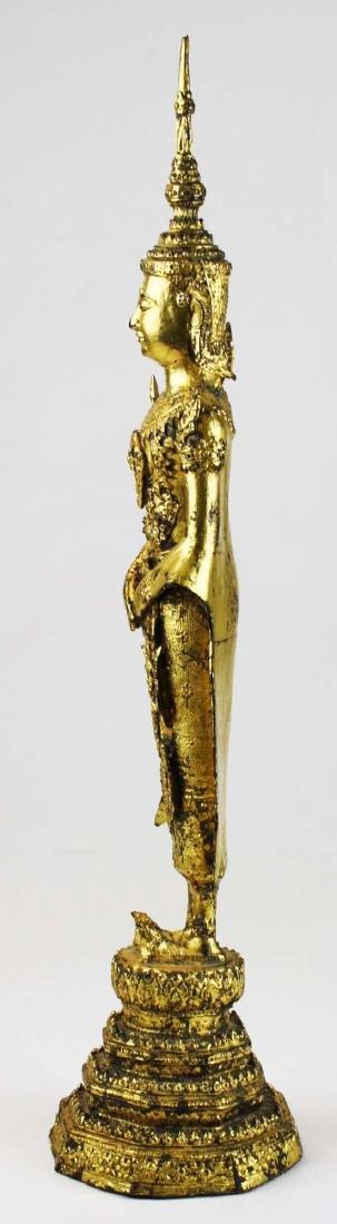 Gilt bronze female deity buddha. - 4