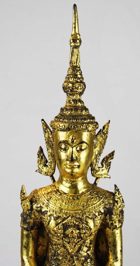 Gilt bronze female deity buddha. - 5