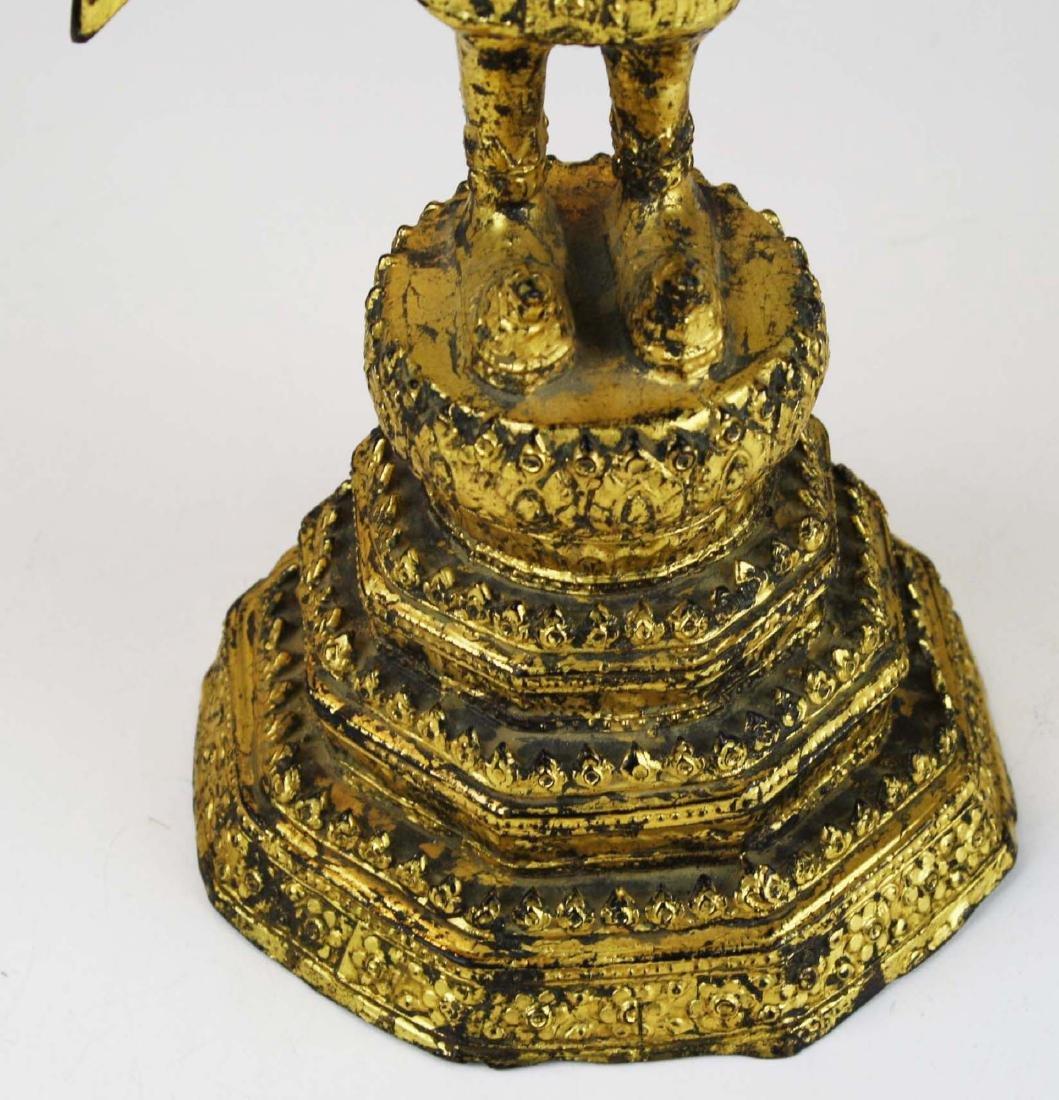 Gilt bronze female deity buddha. - 6